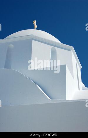 Church in the chora of the island of Amorgos, Greece - Stock Photo