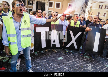 An Italian taxi driver lights a flare as he take part in a demonstration to protest against Uber service in Rome. - Stock Photo