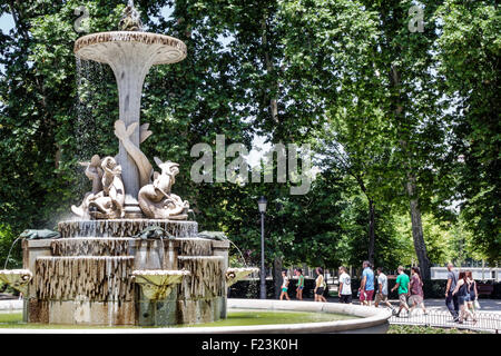 Madrid Spain Europe Spanish Retiro Parque del Retiro city park Galapagos Fountain - Stock Photo