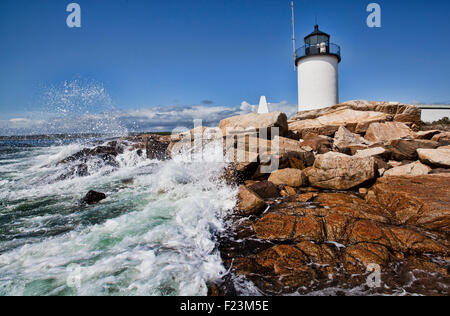 Waves crashing along the rocky shoreline with Goat Island Lighthouse and Bell Tower in the background - Stock Photo