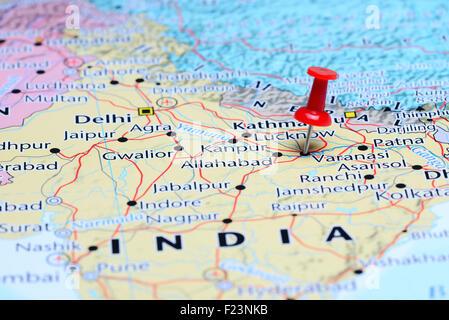 Varanasi Pinned On A Map Of India Stock Photo Royalty Free Image - Varanasi map