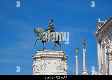 National Monument Vittorio Emanuele II, equestrian statue, Piazza Venezia, Rome, Lazio, Italy - Stock Photo