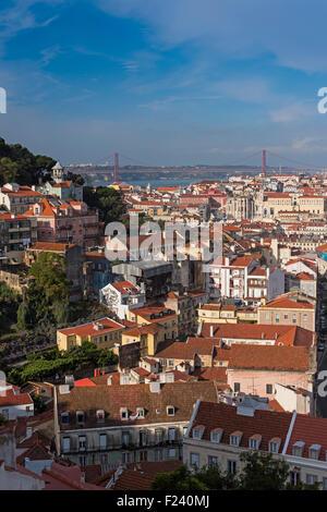 City view to 25 April bridge Lisbon Portugal - Stock Photo