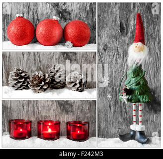 Collage of some lovely and colorful christmas baubles - Stock Photo