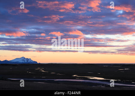Landscape at sunrise near Hofn. Southern Iceland. - Stock Photo