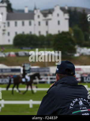 Blair Atholl, Scotland. 11th September, 2015. A spectator watched the dressage action on the second day.  The Longines - Stock Photo