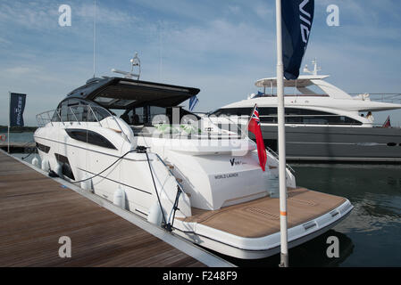 Southampton, UK. 11th September 2015. Southampton Boat Show 2015. The Princess V58 Open launched at the show. Credit: - Stock Photo