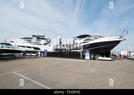Southampton, UK. 11th September 2015. Southampton Boat Show 2015. The Sunseeker stand featured tiers of boats. Credit: - Stock Photo