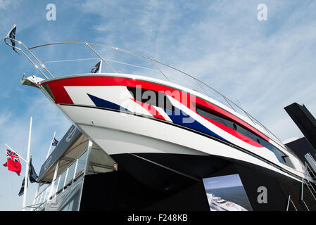 Southampton, UK. 11th September 2015. Southampton Boat Show 2015. A Sunseeker 115 sport yacht seen on the stand - Stock Photo