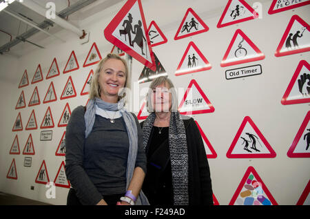 Margaret Calvert (right), designer of the modern British road sign 10th September, 2015.    www.springchicken.co.uk - Stock Photo