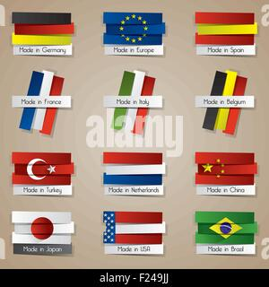 Different Creative Abstract Countries Made In Badges With Flags vector illustration - Stock Photo