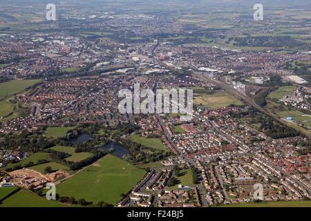 aerial view of the City of Carlisle, Cumbria, UK - Stock Photo