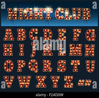 Retro style light bulb alphabet. Capital Letters isolated on dark. - Stock Photo