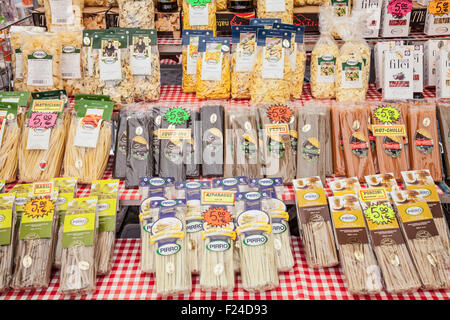 Different types of pasta for sale on a market stall in the Piazza campo de' Fiori Rome Italy roma lazio Italy EU - Stock Photo