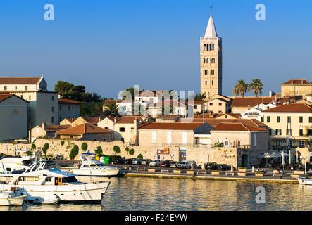 RAB, CROATIA - CIRCA AUGUST 2015: View of the town of Rab, Croatian tourist resort on the homonymous island. - Stock Photo