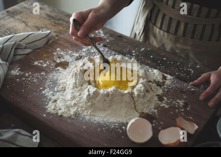 Eggs and flour mix, ready for baking. - Stock Photo