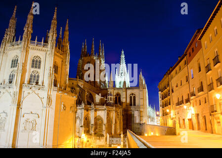 Night view of Burgos cathedral , Spain - Stock Photo