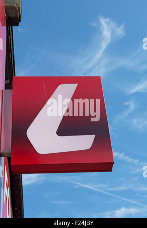 letter L logo of ladbrokes bookmakers, at a branch of the betting shop chain in kingston upon thames, surrey, england - Stock Photo