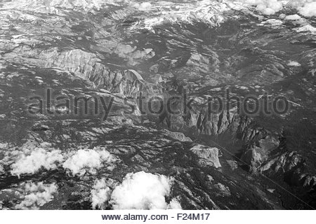 Aerial view of Yosemite Valley and Yosemite National Park in California - Stock Photo