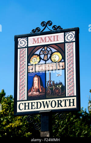 Chedworth village sign, Gloucestershire, England, UK - Stock Photo