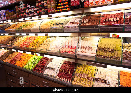 Turkish spices and delights in Istanbul, Turkey - Stock Photo