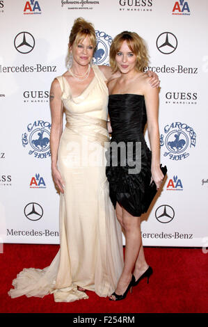 BEVERLY HILLS, CA - OCTOBER 25, 2008: Melanie Griffith and Dakota Johnson at the 30th Anniversary Carousel Of Hope - Stock Photo