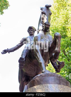 Statue of Paul Revere on Boston's Freedom Trail historic tourist walk - Stock Photo