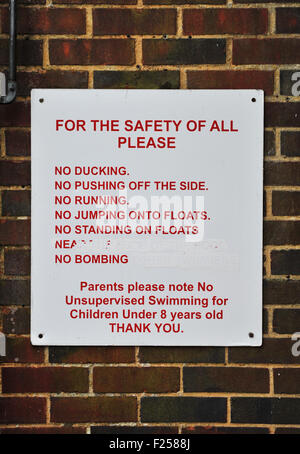 safety sign at pells outdoor swimming pool in lewes sussex. Black Bedroom Furniture Sets. Home Design Ideas
