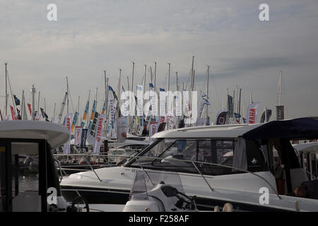 Southampton,UK,11th September 2015,Flags fly at the Southampton Boat show 2015 Britain's biggest boating festiva - Stock Photo
