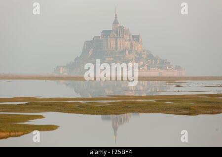 France, Manche, Mont Saint Michel listed as World Heritage by UNESCO, Mont Saint Michel during the high tide of - Stock Photo