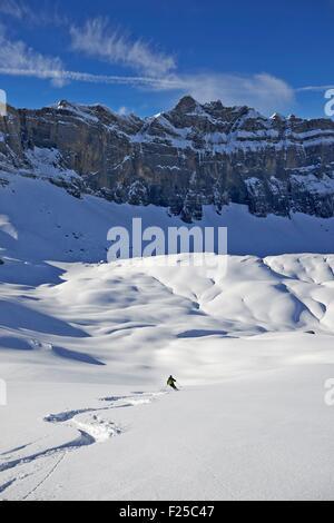 France, Haute Savoie, Passy, ski touring on the Anterne pass - Stock Photo