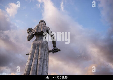 Huge Kartvlis Deda (or Kartlis Deda) monument on Sololaki hill (Mother of the Georgians) over Tbilisi, capital of - Stock Photo