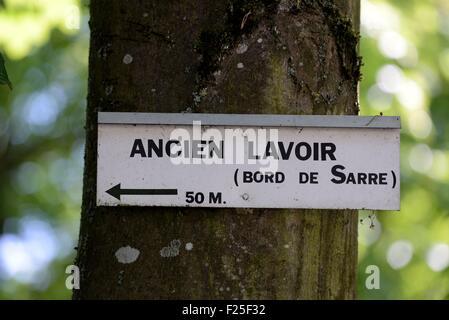 France, Moselle, Fenetrange, former laundrette edge of the Sarre river, panel - Stock Photo