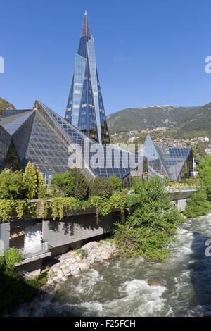 Andorra, Andorra La Vella, capital city of Andorra state, Escaldes Engordany, Caldea thermal spa and wellness resort - Stock Photo