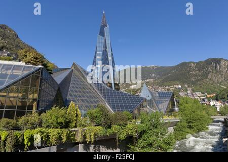 Andorra, Andorra La Vella, capital city of Andorra state, Escaldes Engordany, Caldea thermal spa and wellness resort - Stock Photo