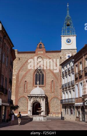 France, Pyrenees Orientales, Perpignan, Saint Jean Batiste Cathedral - Stock Photo