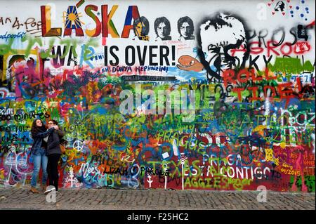Czech Republic, Prague, historical center listed as World Heritage by UNESCO, Mala Strana district, mural in memory - Stock Photo
