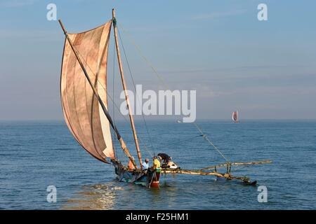 Sri Lanka, Western Province, Negombo, traditional fishing on catamarans - Stock Photo