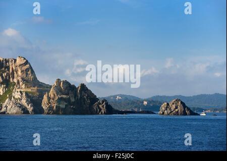France, Var, Iles d'Hyeres, Parc National de Port Cros (National park of Port Cros), Porquerolles island, the fort - Stock Photo