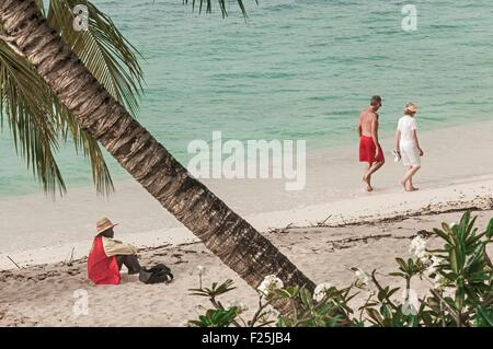 Barbados island, West Indies, beach of west coast at south of Holetown, Saint-James parish - Stock Photo