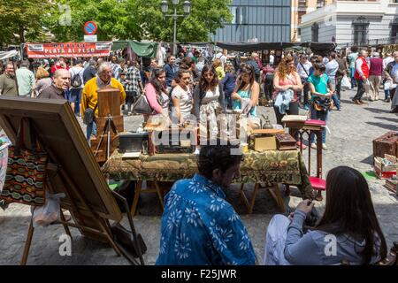 Spain, Madrid, La Latina district the sunday flea market of El Rastro - Stock Photo