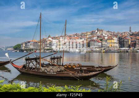 Portugal, North region, Vila Nova de Gaia, rabelos boats, typical boat that was once used to transport barrels of - Stock Photo