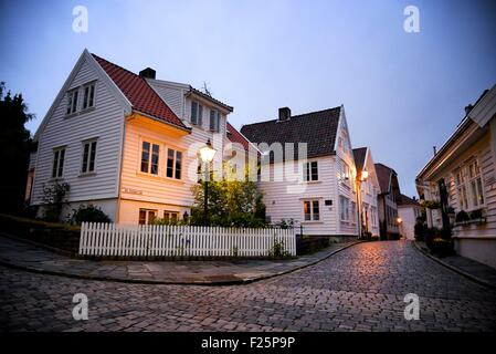 Norway, Rogaland, Stavanger, Gamle Stavanger (old town) - Stock Photo