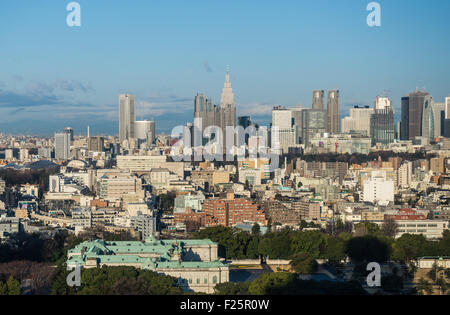 Aerial view with Akasaka Estate (Togu Palace) and Tokyo skyscrapers in Nishi-Shinjuku district (NTT Docomo Yoyogi - Stock Photo