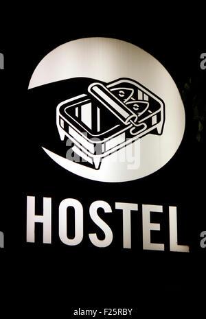 Markennamen: 'Hostel', Berlin. - Stock Photo