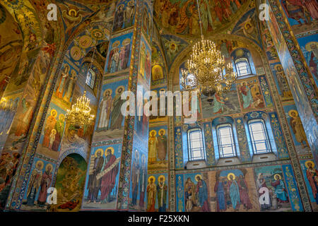 Painting and mosaic in interior of Savior on the Spilled Blood Cathedral in St. Petersburg. Russia - Stock Photo