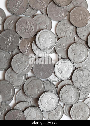 Many USSR metal roubles with Lenin and other designs - Stock Photo