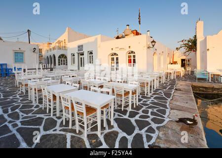 Restaurants in the port of Naousa village on Paros island, Greece - Stock Photo