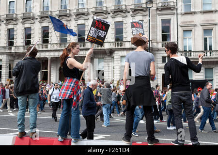 London, UK. 12th September, 2015. Demonstrators march through central London, from Park Lane to Parliament Square, - Stock Photo