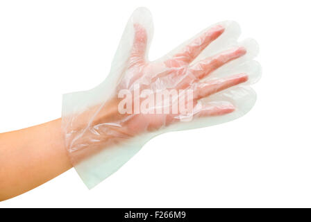 transparent disposable glove on women hand - Stock Photo